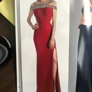 5c835fbcd99 Dresses   Skirts - Red off the shoulder beaded gown 18021